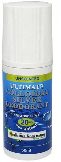 Medicines From Nature Ultimate Colloidal Silver Unscented Deodorant 20PPM Roll On 50ml