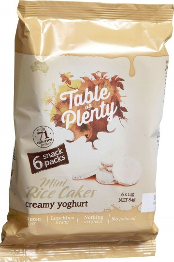 Table of Plenty Creamy Yoghurt Mini Rice Cakes 6x14g Snack Packs G/F 84g