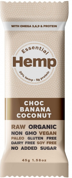 Essential Hemp Choc Banana Coconut Bars 12x45g