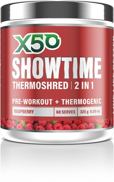 X50 Showtime Thermoshred 2 in 1 Raspberry G/F 325g