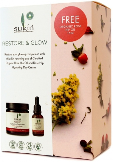 Sukin Restore & Glow (Rose Hip Hydrating Day Cream 120ml+Free Rose Hip Oil 15ml)GWP