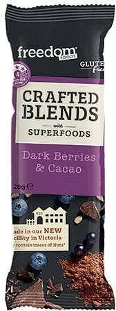 Freedom Foods Crafted Blends Dark Berries & Cacao Bars 12x28g