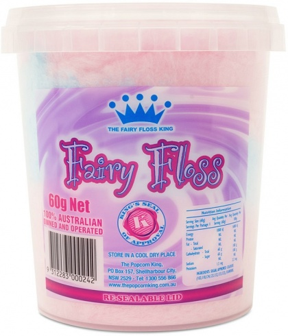 The Popcorn King Fairy Floss Tub 60g