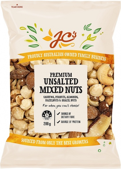 JC's Premium Unsalted Mixed Nuts 200g