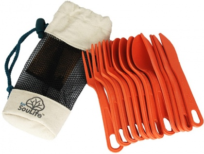 EcoSouLife Bamboo Cutlery Cluster 12Pc Orange